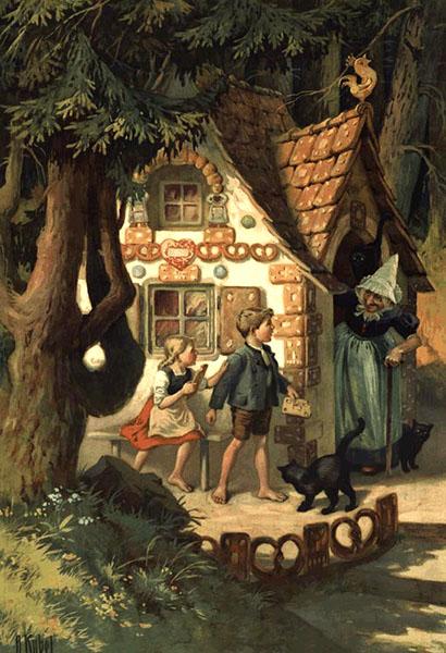 Farbdruck: aus dem Haus kommende Hexe überrascht die an Lebkuchen knabbernden Kinder - 1910