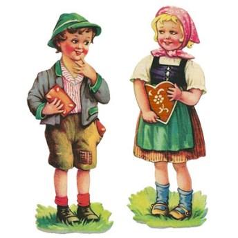 2 Glanzbilder: Hänsel mit eckigem, Gretel mit Herz-Lebkuchen - 1920