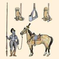 kolorierte Zeichnung: Pferd mit Steigbügel, gehalten von Ritter in Rüstung mit Lanze - 13. Jh