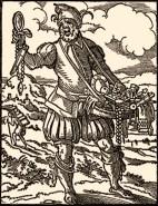 Holzschnitt: Wanderkrämer mit Bauchladen - 1568