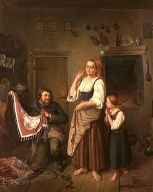 Gemälde: Händler zeigt Frau mit Tochter in der Stube bunte Tücher -1860