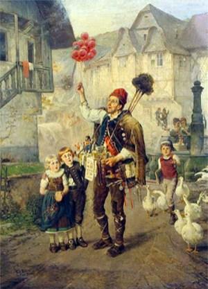 Gemälde: Hausierer hält rote Luftballons hoch und wird auf Straße von Kindern und Gänsen umringt - 1882