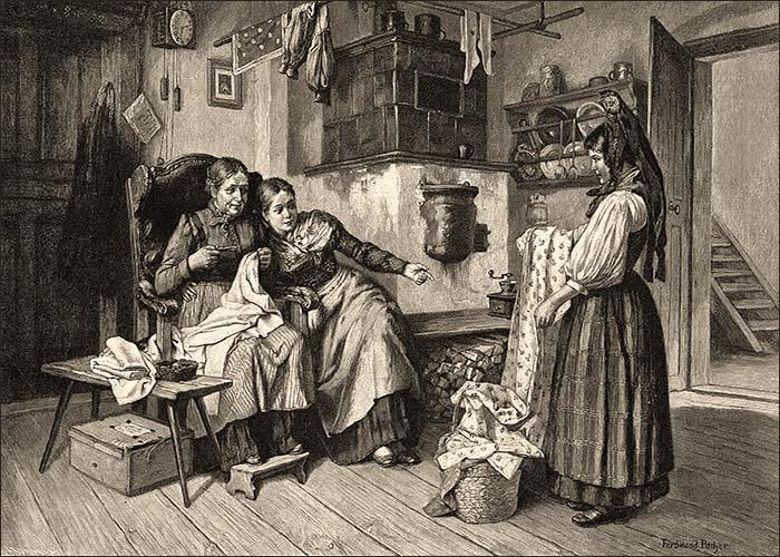 Litho: Hausiererin bietet zwei am Ofen sitzenden Frauen günstige Bettwäsche an - 1893