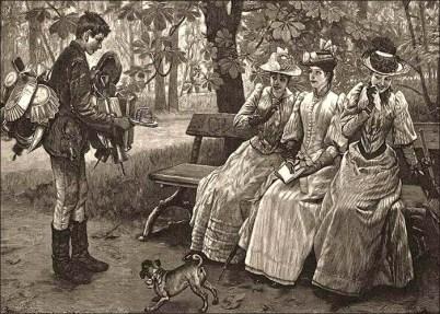 Holzstich: junger Blechkramhändler bietet drei Wiener Ladys auf Parkbank eine Mausefalle an - 1896