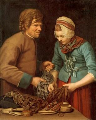 Gemälde: schwedischer Hausierer zeigt einer Frau Schmuckborten - 1780