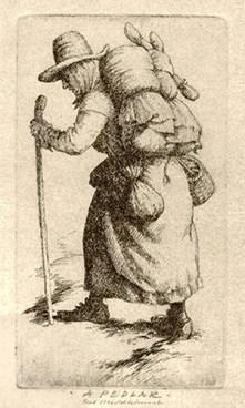 Radierung: engl. Hausiererin mit Warenbündel auf dem Rücken - 1850