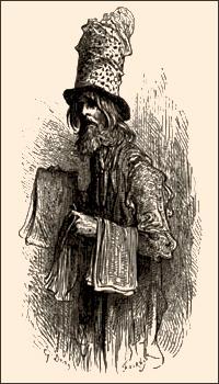 Zeichnung: großer Händler mit mehreren Hüten übereinander und Schals über'm Arm - 1860