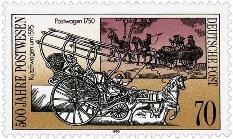 Briefmarke: Kutschwagen von 1595 + Postwagen von 1750