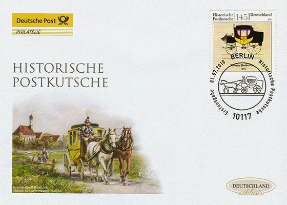Briefumschlag mit hist. Postkutsche