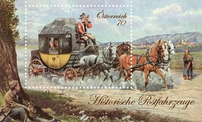 Briefmarke: Vierspänner-Postkutsche mit Fahrgästen