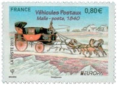 Briefmarke: rot-schwarze Fünfspänner Postkutsche