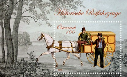 Briefmarke: Kastenwagen mit einem Pferd