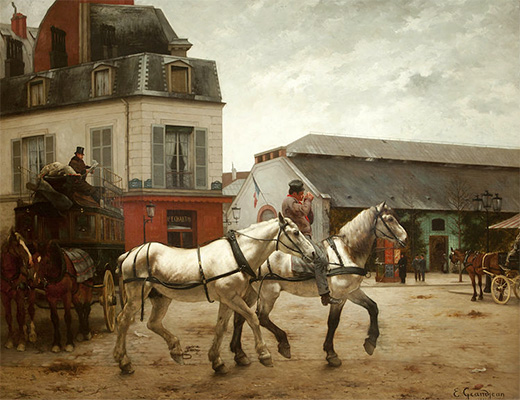 Gemälde: Pariser Post- und Pferdewechselstation