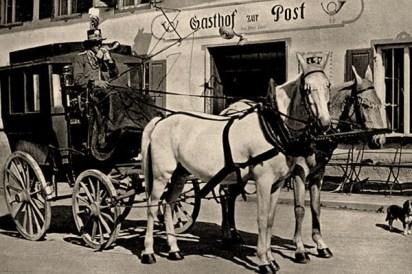 sw Fotokarte: Gasthof zur Post ... Jahre später