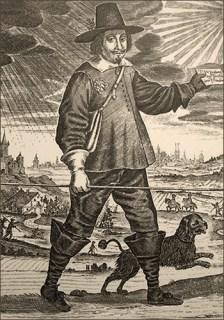 Stahlstich: mit Hund durchs Land wandernder Briefbote mit Spieß in der Hand - 17. Jh