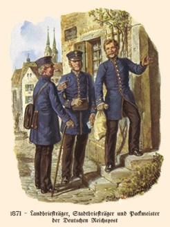 Farblitho: 3 Postangestellte vorm Eingang einer Poststelle - 1871