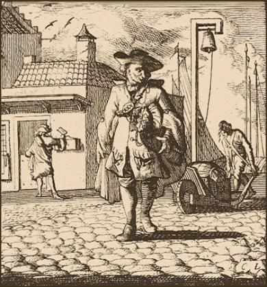 Kupferstich: Bote unterwegs in der Stadt mit Postsack unterm Arm - 1698