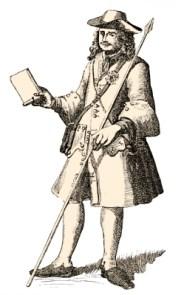 Zeichnung: Bote mit Schultertasche und Botenspieß