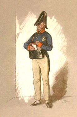 Farblitho: Postbote entnimmt seiner Posttasche einen Brief - 1820