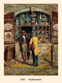 Farblitho: Postbote übergibt Ladeninhaber Brief vor Ladentür - 1830