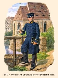 Farblitho: Postbote liest im Stehen Adresse auf einem Brief - 1850
