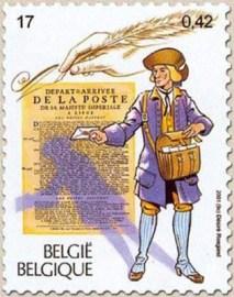 Briefmarke: Bote mit Brief in ausgestreckter Hand