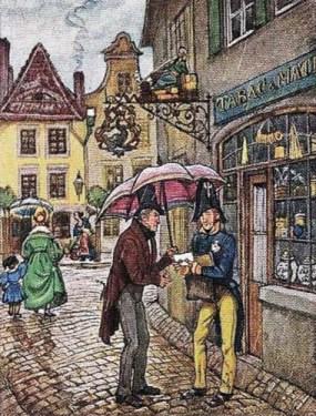 Pastellzeichnung: Postbote übergibt in verregneter Gasse Mann unter Schirm einen Brief - 1830