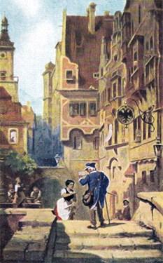 Gemälde: Frau läuft in Gasse Briefboten entgegen - 1850