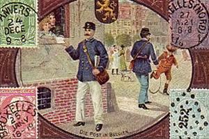 gemalte Karte: Postbote reicht Brief von Straße aus durch Fenster - 1900