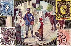 gemalte Karte: Postbote übergibt Frau einen Brief auf der Straße - 1900