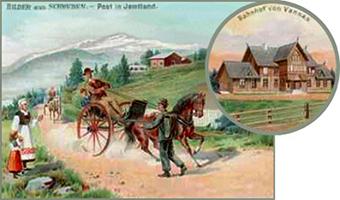 gemalte Karte: Postbote mit Tornister zu Fuß unterwegs auf Bergstraße - 1905