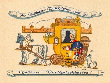 Farblitho: lustiger Postkutscher schrubbt Kutsche mit Bürste