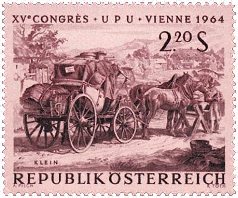Briefmarke): Kutschenstop an Posthalterei zum Tränken der Pferde