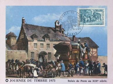 Bildkarte: Poststation mit davor parkender Postkutsche