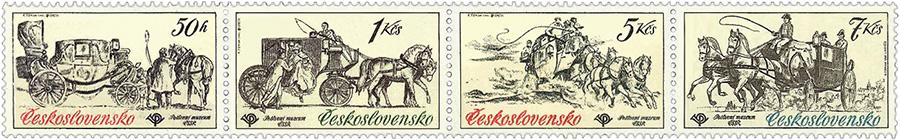 Briefmarken: vier verschiedene Postkutschenszenen
