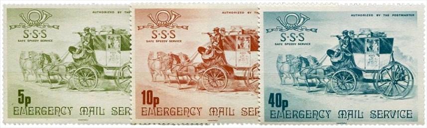 Briefmarkensatz: gleiches Postkutschenmotiv, verschiedenfarbig je Porto