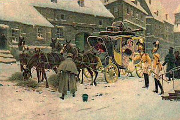 farbige Künstlerkarte: Lady steigt aus Kutsche, Pferde fressen Heu