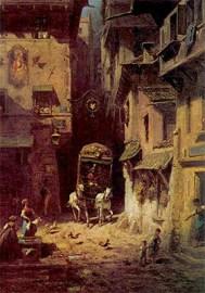 Gemälde: Postkutsche holpert über enge Gassen durch die Stadt - 1880