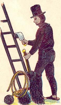 alte Illustration: Kaminfeger fängt an zu arbeiten
