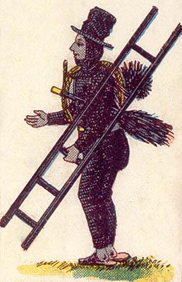 alte Illustration: Schornsteinfeger mit Leiter