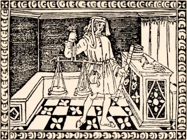 Holzschnitt: Geldwechsler mit Münzwaage in einer Wechselstube in Florenz - 15. Jh