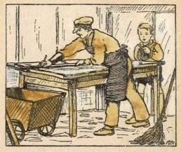 Buchillustration: Mann schneidet auf einem Tisch Glas zurecht