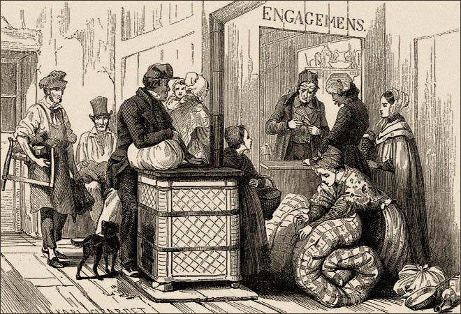 Holzstich: vor Pfandleiher-Schalter Wartende mit diversem Pfandgut - 1842, Frankr.