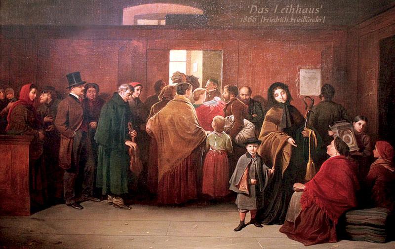 Gemälde: viele Wartende mit ihren Pfändern im Leihhaus-Vorraum - 1866
