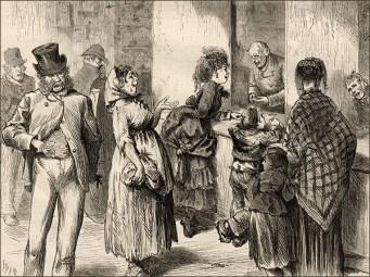 Zeichnung: Leute stehen beim Pfandleiher Schlange - 1871, Engl.