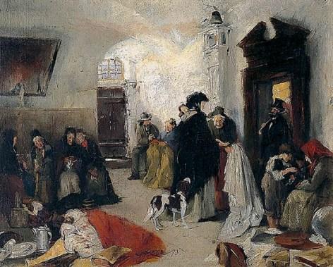 Gemälde: viele Wartende im Vorraum einer Pfandleihe - 1873