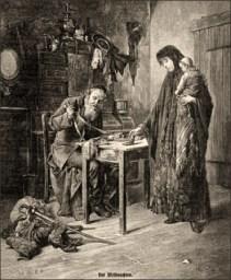Holzstich: arme Frau mit Baby versetzt Habseligkeiten beim Lombard - 1885