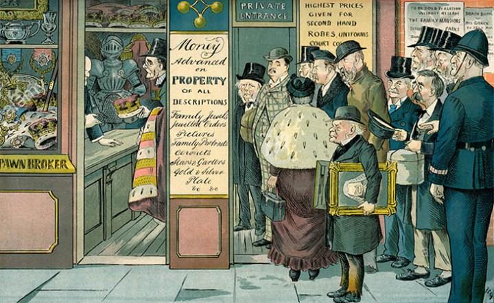 Cartoon: arme Reichen stehen im Pfandhaus Schlange - 1894, Engl.