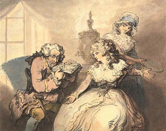 aquarell. Zeichnung: Verleiher begutachtet Schmuck junger Ladys - 1800, Engl.