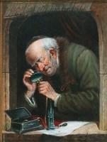 Gemälde: alter Lombart prüft Schmuck mit Lupe - 1870